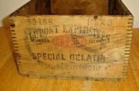 Vintage DuPont High Explosives Special Gelatin Wood / Wooden Dovetail Box Crate