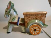 Vintage Donkey Pulling Cart Planter Green Made in Occupied Japan