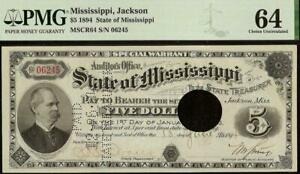 UNC 1894 $5 DOLLAR STATE of MISSISSIPPI NOTE LARGE PAPER MONEY WARRANT PMG 64