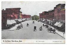 ST.JOE STREET,THREE RIVERS,MICHIGAN VINTAGE 1908 POSTCARD HAND COLERED