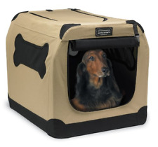 Dog Crate Soft Side Fabric Medium-Large Portable Tan Pet Home Indoor Outdoor