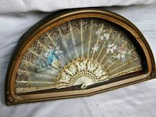 Antique Hand Fan Celluloid Fabric Handpainted Victorian Lady Original Wooden Box