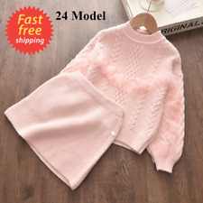Girls Winter Clothes Set Long Sleeve Sweater Skirt Clothing Baby Outfits Kids