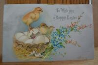 C 1907 Chicks Eggs In Basket Flowers Happy Easter Postcard With Glitter