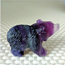 1pc Natural fluorite hand carved mini bear quartz crystal healing