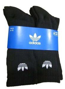Mens Adidas Originals Trefoil Cushioned Socks Crew 6-Pack black/white Size 6-12