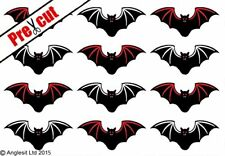 PRE-CUT HALLOWEEN BATS EDIBLE WAFER PAPER CUP CAKE TOPPERS PARTY DECORATIONS