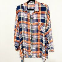 ETWO Women's Plaid Button-Up Tunic Dress Collared Orange Blue Size Large L