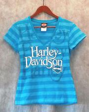 HARLEY DAVIDSON Motorcycles womens short sleeve v neck T shirt-sz S-blue striped