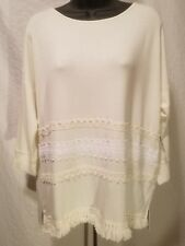 KENSIE OFF WHITE IVORY T SHIRT 3/4 SLEEVE CROCHET LACE TOP BLOUSE SIZE L LARGE