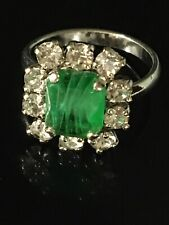 Vintage Christian Dior Faux Emerald Ring With Beautiful Crystals