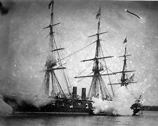 New 8x10 Civil War Photo: Guns Firing from USS PENSACOLA
