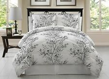 Luxury Queen Size Bed in Bag 8-Piece Comforter Set Bedroom Bedding White Black