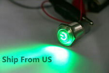 Green Waterproof Power Push Button Latching Switch 12 V 16 mm LED Head