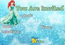 Little Mermaid Party Invitations with matching envelopes, princess, 12pack