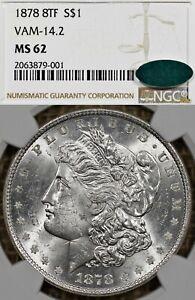1878 $1 NGC MS62 CAC 8TF VAM 14.2 Morgan Silver Dollar - 8 Tail Feather, 8 TF
