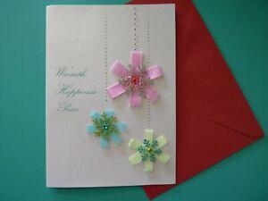Embellished Christmas Greeting Card For Anyone PAPYRUS Pastel Ribbon Snowflakes