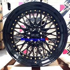 XXR 536 Wheels 17 x 9 +25 Black Gold Rivets Rims 5x4.5 98 99 04 Ford Mustang GT