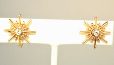 VINTAGE 14K YELLOW GOLD STARBURST .18 CARAT TW DIAMOND SCREW BACK EARRINGS