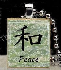 Japanese Peace Scrabble Tile Pendant Jewelry Necklace Inspirational Charm