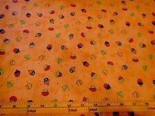 Mini Cupcakes Toss Celebrate Cotton Fabric Phyllis Dobbs Vip Fabric Orange