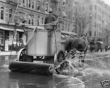 Photograph Vintage New York Horse Drawn Street Cleaner in Action 1905c  8x10