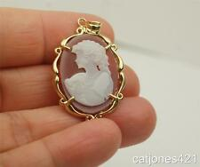 10K GOLD LEFT FACING RED AGATE CAMEO PENDANT YELLOW GOLD
