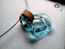PRECIOSA BRAND Crystal Necklace in Aquamarine - 925 Sterling - Made in Czech