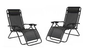 Set of 2 Outdoor Textilene Reclining Sun Lounger Zero Gravity Folding Chairs