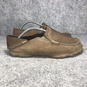 OLUKAI Moloa Kohana Slip-On Brown Loafer Shoe Men's Size 10 Leather Suede EUR 43