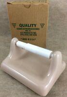 MID CENTURY MODERN Vintage Pink Retro Ceramic TP Toilet Paper Tissue Holder Rod