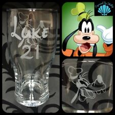 Personalised Disney Goofy Pint Beer Glass Gift  For Him Any Name Engraved Free!
