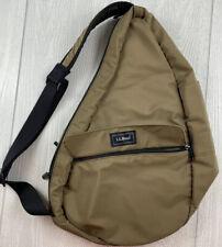 LL Bean Tan Nylon Shoulder Strap Messenger Bag Satchel Mens Unisex Hipster Bag