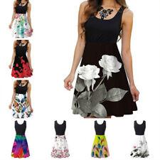 Women Summer Crew Neck Tank Top Dress Floral Print Casual Skirt Ruffle Hem Dress