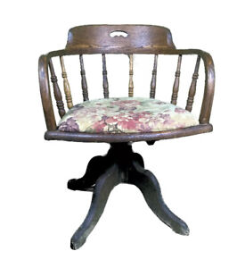 Antique Edwardian Solid Wood Flower Upholstery Revolving Office Chair 1890 etc.