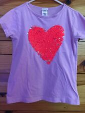 Crewcuts Color Change Heart Shirt Girls Lilac Shimmer Top Size 6/7
