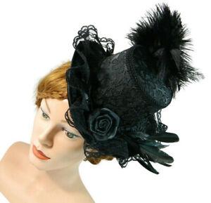 Midi Damen Zylinder Damenhut Goth Kostüm Victorian Derby Hat Hatinator Fascinato