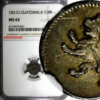 Guatemala Ferdinand VII Silver 1821 G 1/4 Real NGC MS62 Castle / Lion KM# 72