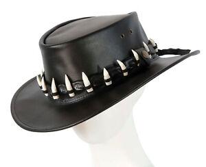 Black Australian Jacaru Outback Leather Hat 17 Crocodile Teeth Crocodile Dundee