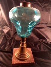 southern estate turquoise coin spot glass whale oil lamp