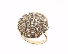 Anello in stile antico oro 14 kt 500 argento 925 mill.  diamanti taglio a rosa