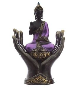 Buddha Black Purple Seated IN Hand 28 CM Poly Figurine Buddhism Asian Thai Monk