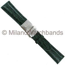 20mm Morellato Green Genuine Shark Skin W/ Stainless Steel Deployment Clasp Band