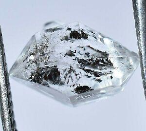 2.40 Ct Rare Herkimer Diamond Water Clear Quartz Crystal Anthraxolite Rough