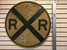 "Vintage Authentic Rail Road Crossing Sign 30"" RailRoad Round Garage Man Cave"