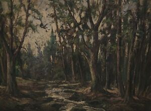 Painting Forest Stream Signed W M