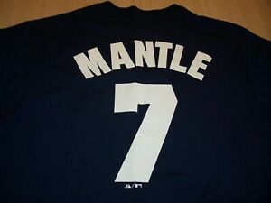 MAJESTIC NEW YORK YANKEES MANTLE BLUE T-SHIRT JERSEY MENS XL EXCELLENT COND.