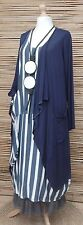 LAGENLOOK  BEAUTIFUL AMAZING 2 PCS OUTFIT STRIPED DRESS+JACKET*NAVY*SIZE L-XL