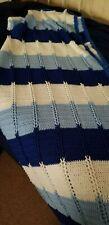 Handmade Crochet Blue and White Quilt