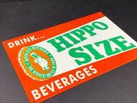 """VINTAGE HIPPO BEVERAGES ADVERTISING METAL SODA BOTTLE 12"""" SIGN GAS STATION OIL"""